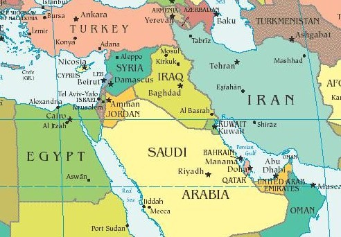 Middle east map hd